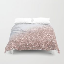 Blush Pink Sparkles on White and Gray Marble V Duvet Cover