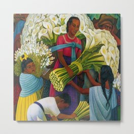 Classical Masterpiece 'The Flower Vendor' by Diego Rivera Metal Print