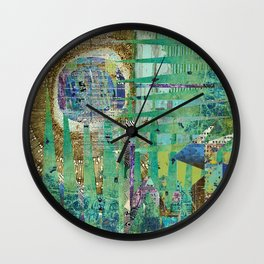 Teal Brown Blue Seed Abstract Art Collage Wall Clock