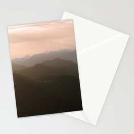 Alps Mountain Layers at Warm and Peaceful Sunrise – Landscape Photography Stationery Cards
