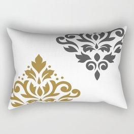 Scroll Damask Art I Gold & Grey on White Rectangular Pillow