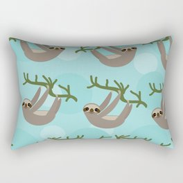 Three-toed sloth on green branch blue background Rectangular Pillow