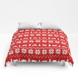 Pig Silhouettes Christmas Sweater Pattern Comforters