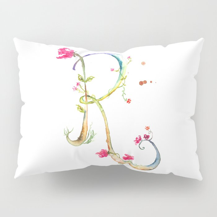 Letter R watercolor - Watercolor Monogram - Watercolor typography - Floral lettering Pillow Sham