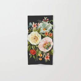 Wildflower and Butterflies Bouquet on Charcoal Black Hand & Bath Towel