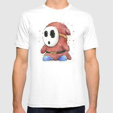 Shy Guy Watercolor Mario Art X-LARGE White Mens Fitted Tee
