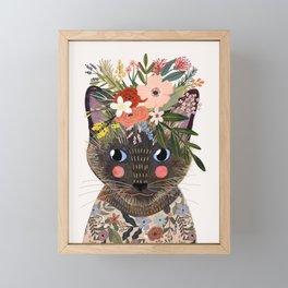 Siamese Cat with Flowers Framed Mini Art Print