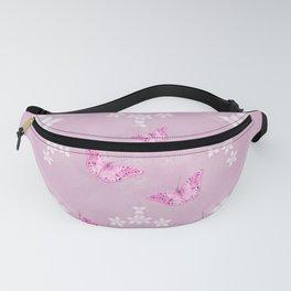 Delicate pink butterflies on a beautiful flower mandala Fanny Pack