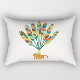 Whimsical travelers palm with tiger Rectangular Pillow