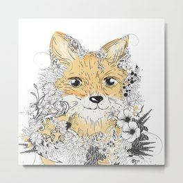 little cute fox-florally decorated Metal Print