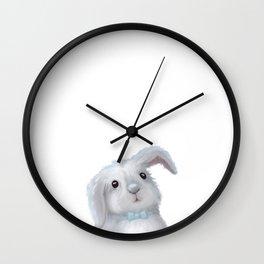 White Rabbit Boy isolated Wall Clock