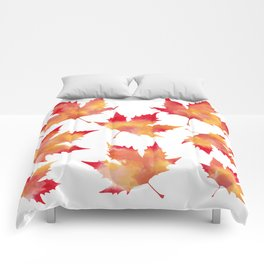Maple leaves white Comforters