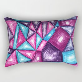 Crystal polygons purple pink blue Rectangular Pillow