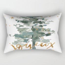 Christmas Tree Watercolors Noel Gold Typography Rectangular Pillow