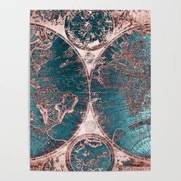 Antique World Map Pink Quartz Teal Blue by Nature Magick Poster