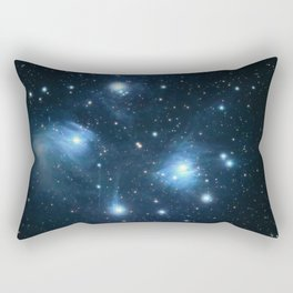 The Pleiades reflection nebula in the constellation of Taurus. Open star cluster. Rectangular Pillow