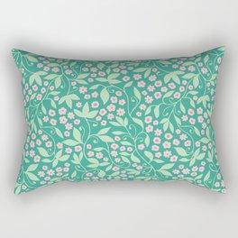 Green pink floral tendril Rectangular Pillow