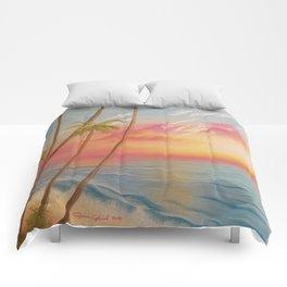 Paradise, Beautiful Beach, Peaceful Beach, Pastel Beach, Beach decor Comforters
