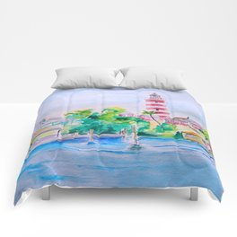 Elbow Reef Lighthouse Hope Town, Abaco, Bahamas Watercolor painting Comforters