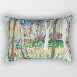 Water Lilies Through the Trees Rectangular Pillow