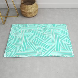 Sketchy Abstract (White & Turquoise Pattern) Rug