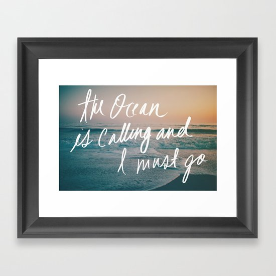 The Ocean is Calling by Laura Ruth and Leah Flores  Framed Art Print