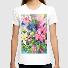 Hummingbird and Plumeria Florwers Tropical bright colored foliage floral Hawaiian Flowers T-shirt