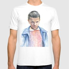 Eleven Stranger Things Watercolor Portrait LARGE Mens Fitted Tee White