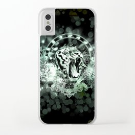 Awesome tiger on black background Clear iPhone Case