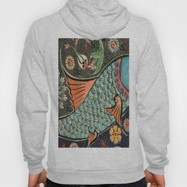 bohemian folk art orange aqua blue japanese good luck koi fish Hoody