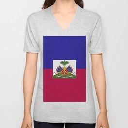 Haiti flag emblem Unisex V-Neck