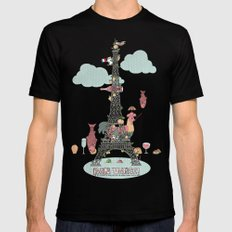 Eiffel Tower Mens Fitted Tee Black 2X-LARGE