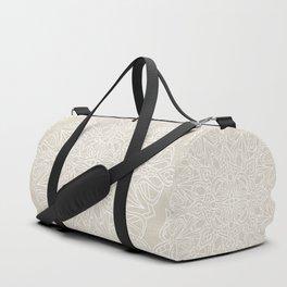 White Lace Mandala on Antique Ivory Linen Background Duffle Bag