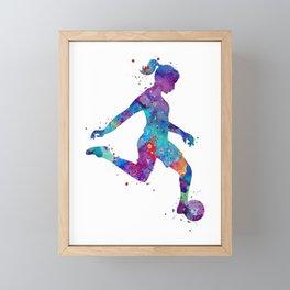 Soccer Girl Player Watercolor Art Gift Sports Art Framed Mini Art Print