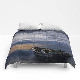 Morning Sunrise with Anchored Wooden Row Boat Comforters