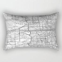 Vintage Map of North and South Dakota (1891) BW Rectangular Pillow