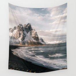 Stokksnes Icelandic Mountain Beach Sunset - Landscape Photography Wall Tapestry