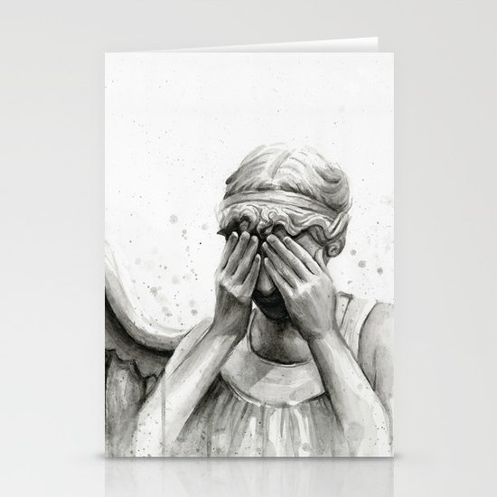 Weeping Angel Watercolor Painting Stationery Cards