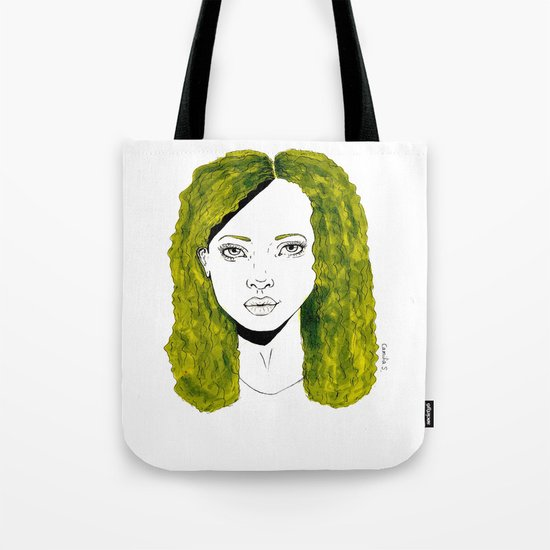 GIRL WITH CURLY KAKI HAIR  Tote Bag