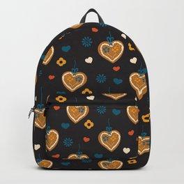 Gingerbread hearts on black Backpack