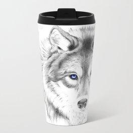 WOLF WHITE Metal Travel Mug