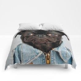 Cute Black Dog - Face Portrait Comforters