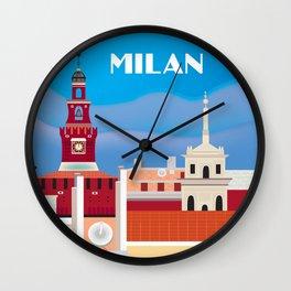 Milan, Italy - Skyline Illustration by Loose Petals Wall Clock