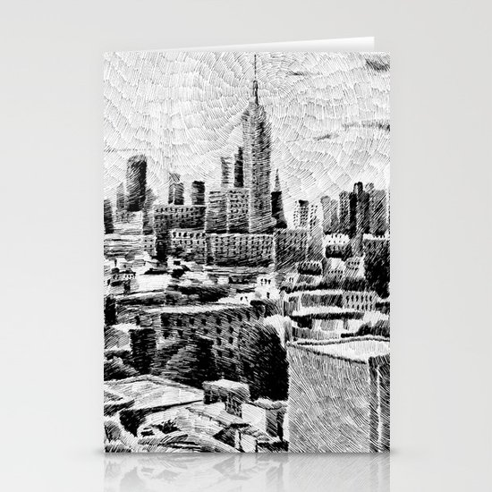 New York City - Fingerprint - Black ink Stationery Cards