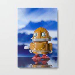 Orange Toy Robot Metal Print