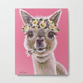 Alpaca Art, Alpaca Flower Crown Metal Print