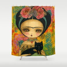 Frida And Her Cat Shower Curtain