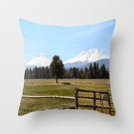 Sisters Oregon Cascade mountain range Throw Pillow