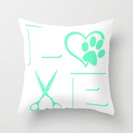 DOG Pet Grooming Hoodie For Cute Groomer Gift Throw Pillow