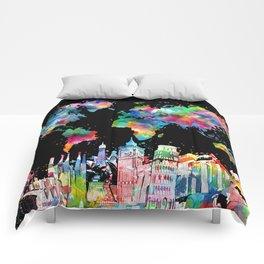world map city skyline 3 Comforters